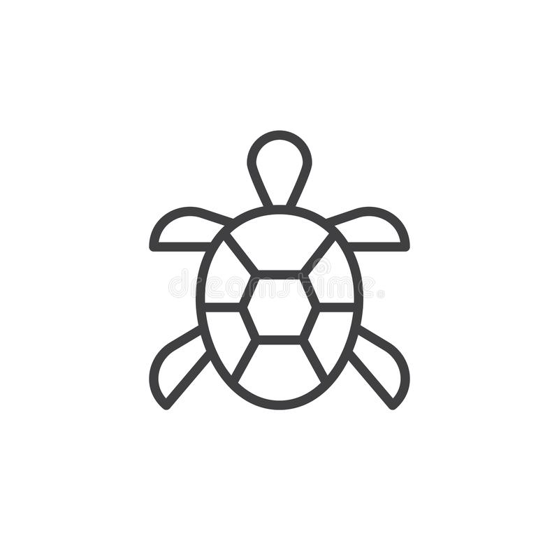 Turtle line icon. Outline vector sign, linear style pictogram isolated on white. Symbol, logo illustration. Editable stroke royalty free illustration