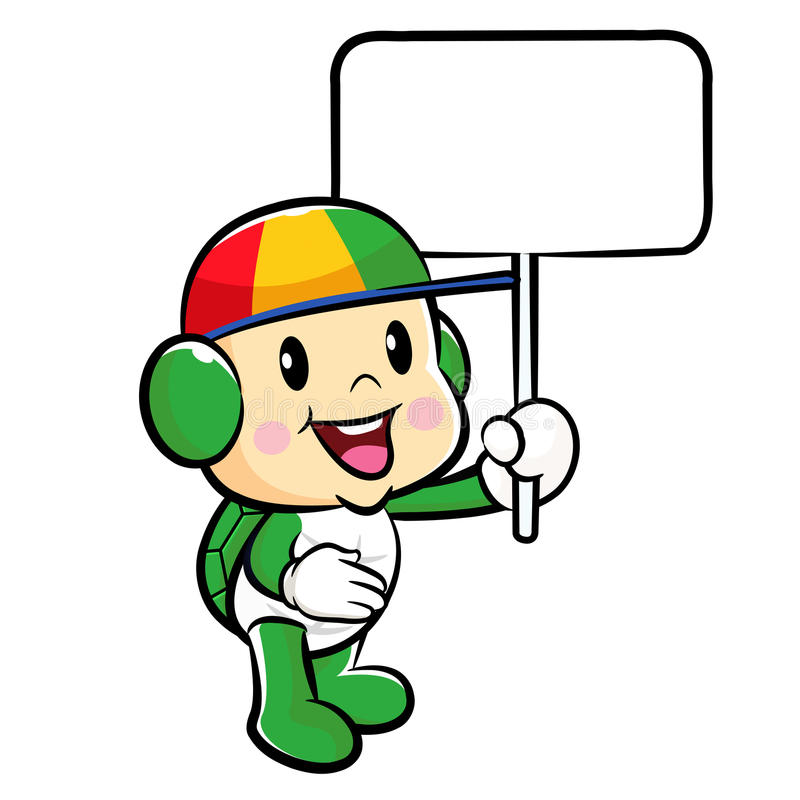 Download The Turtle Mascot Holding A Board. Traffic And Road Character De Stock Illustration - Image: 33869341