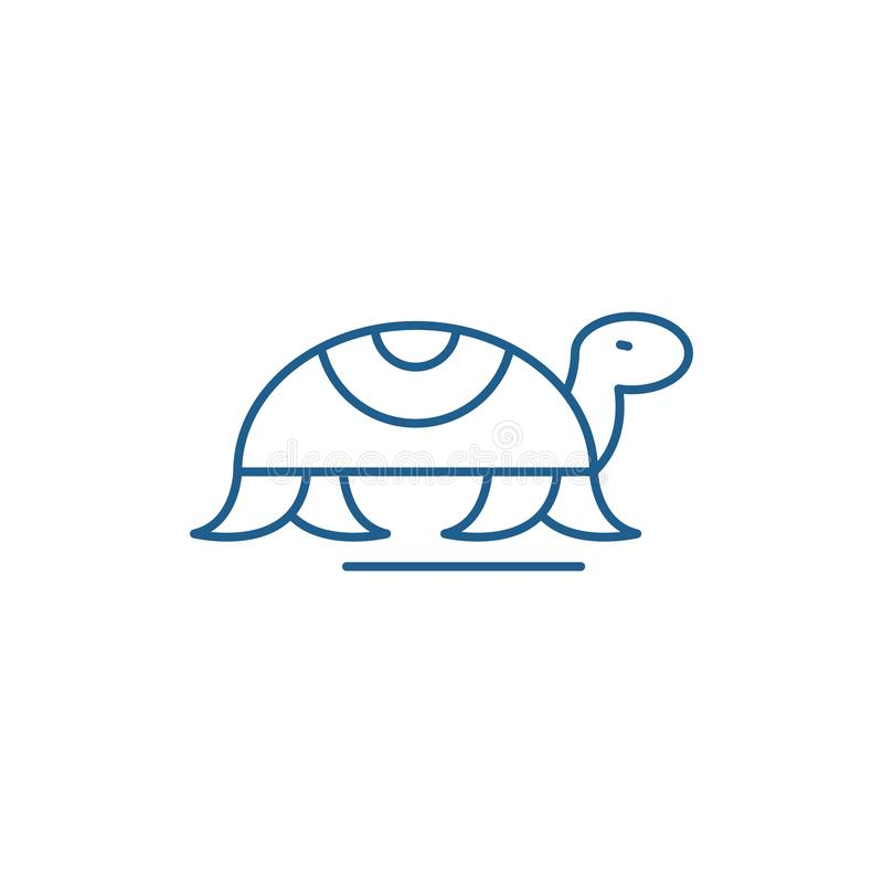 Turtle in motion line icon concept. Turtle in motion flat  vector symbol, sign, outline illustration. royalty free illustration