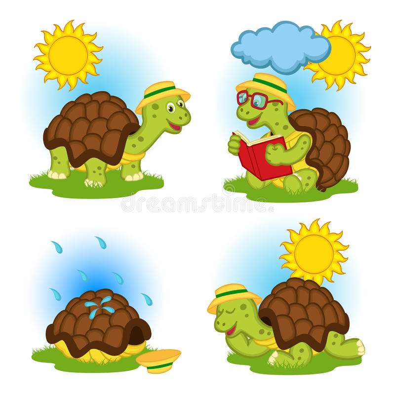 Turtle reading a book and hides from the rain stock illustration