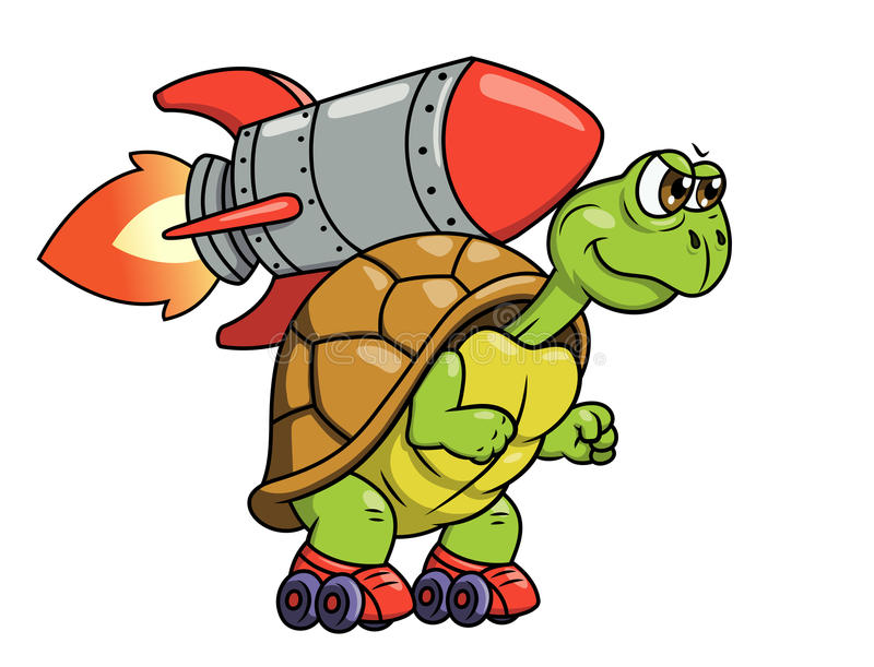 Turtle with rocket 2. Illustration of the funny turtle on roller skates with rocket on its back stock illustration