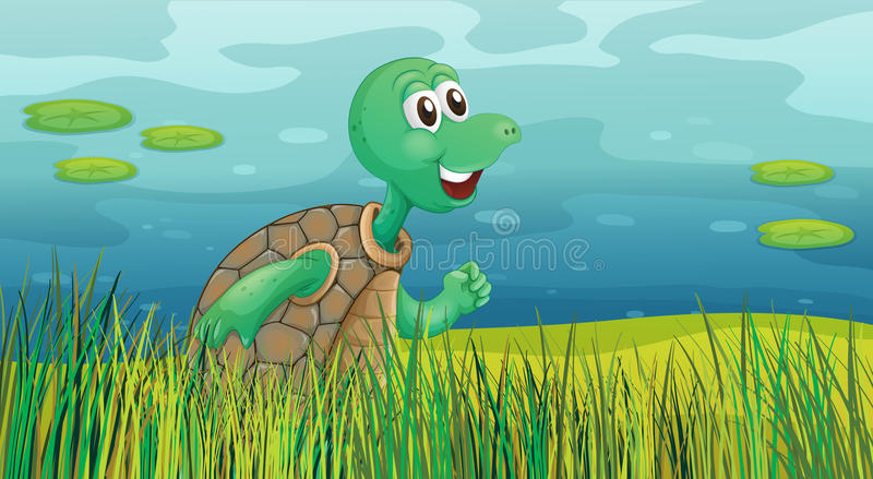 Download A Turtle Running Along The Pond Stock Vector - Image: 32733169