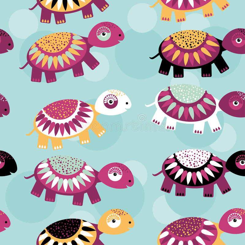 turtle Seamless pattern with funny cute animal on a blue background. Vector stock illustration