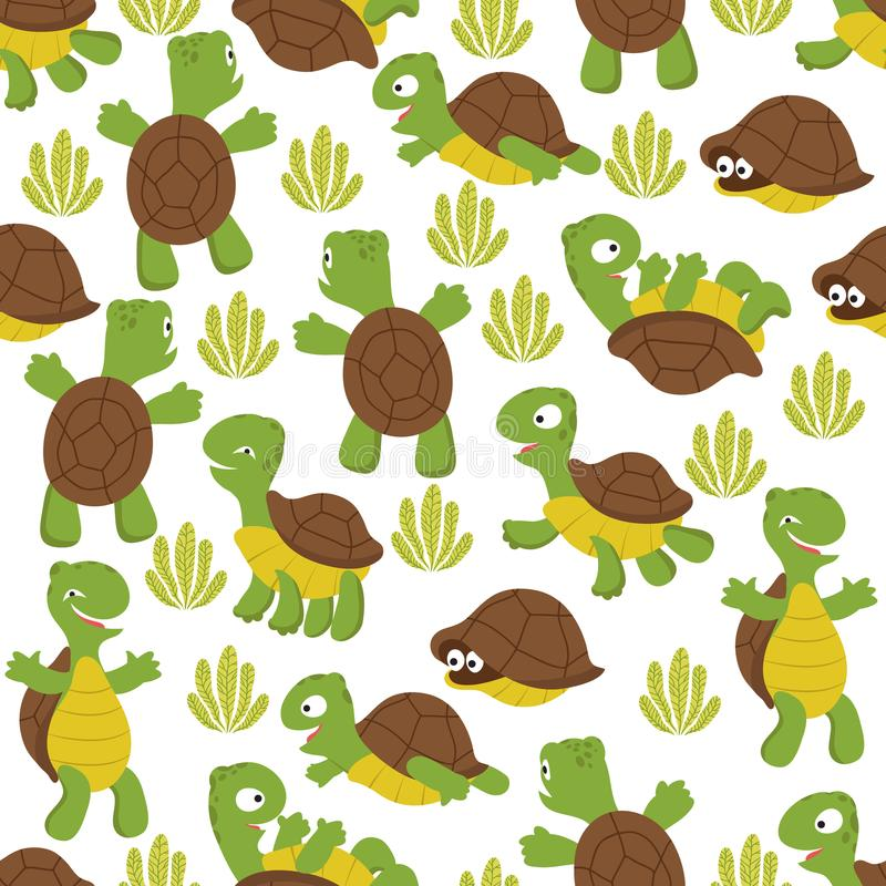 Turtle seamless pattern. Wild cute tortoise print texture for kids textile royalty free illustration