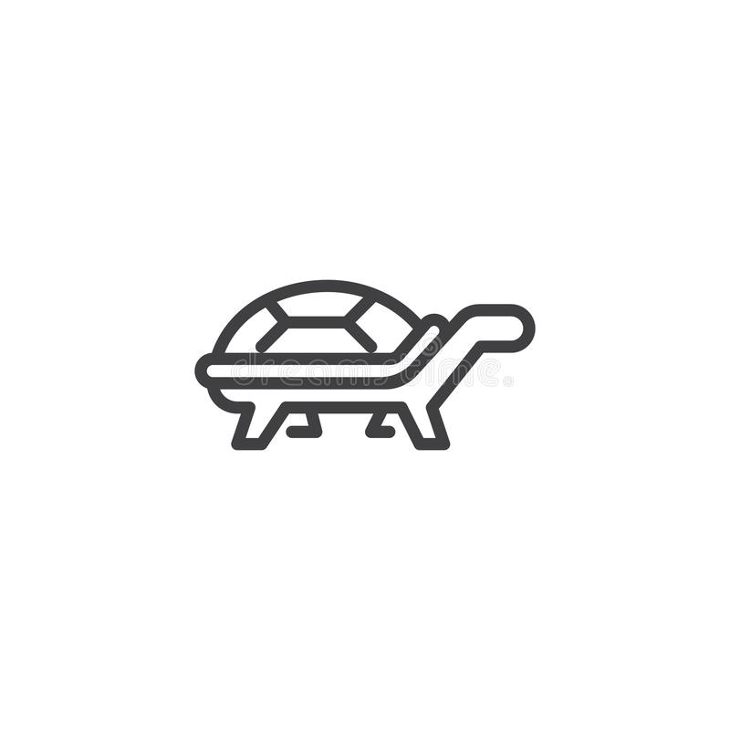 Turtle side view line icon vector illustration