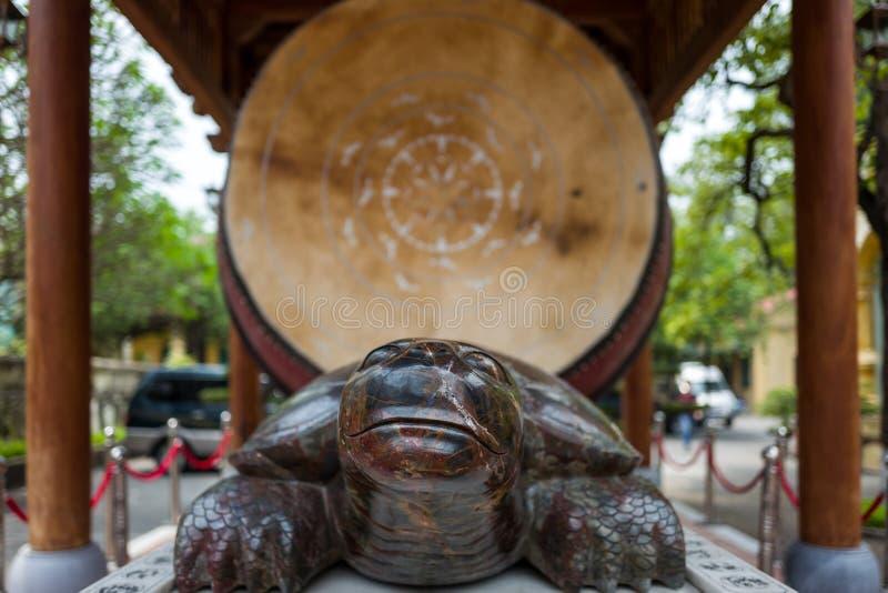 Turtle statue at Thang Long Citadel in Hanoi, Vietnam stock photo