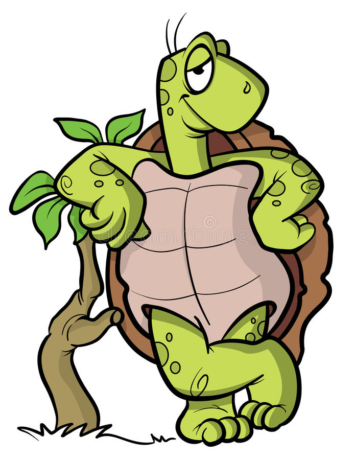 Turtle or tortoise cartoon illustration. Cartoon illustration of a turtle or tortoise leaning on a small tree vector illustration