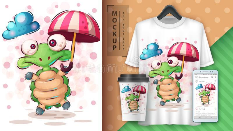 Turtle with umbrella poster and merchandising royalty free illustration