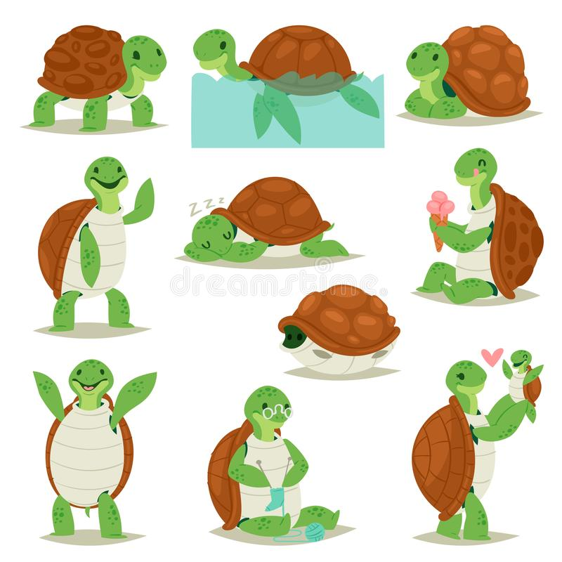 Turtle vector cartoon seaturtle character swimming in sea and sleeping tortoise in tortoise-shell illustration set of vector illustration