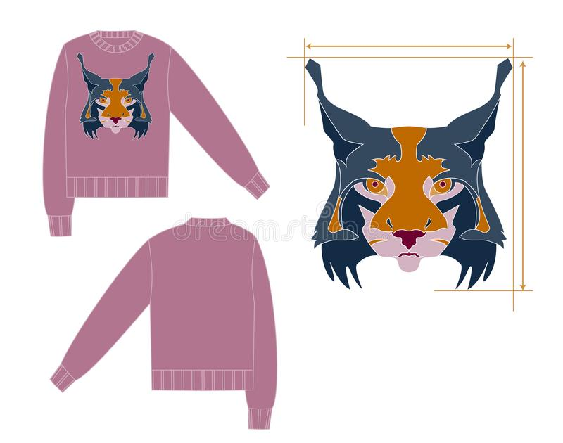 Turtleneck pulower z rysia intarsia royalty ilustracja