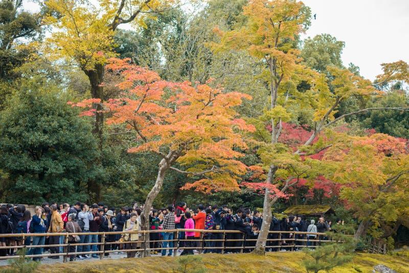 Turyści biorą fotografie Kinkakuji świątynia zdjęcia royalty free