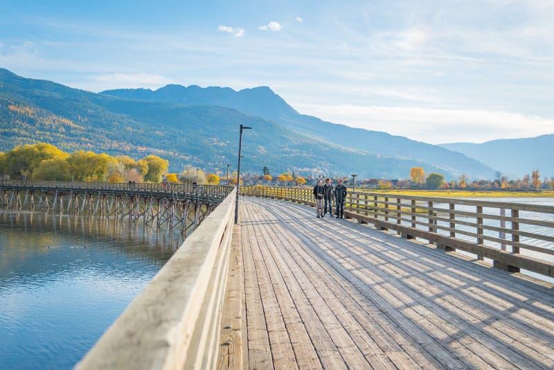 Turyści chodzi wzdłuż wyginającego się mola w Łososiowej ręce, BC, Kanada fotografia stock