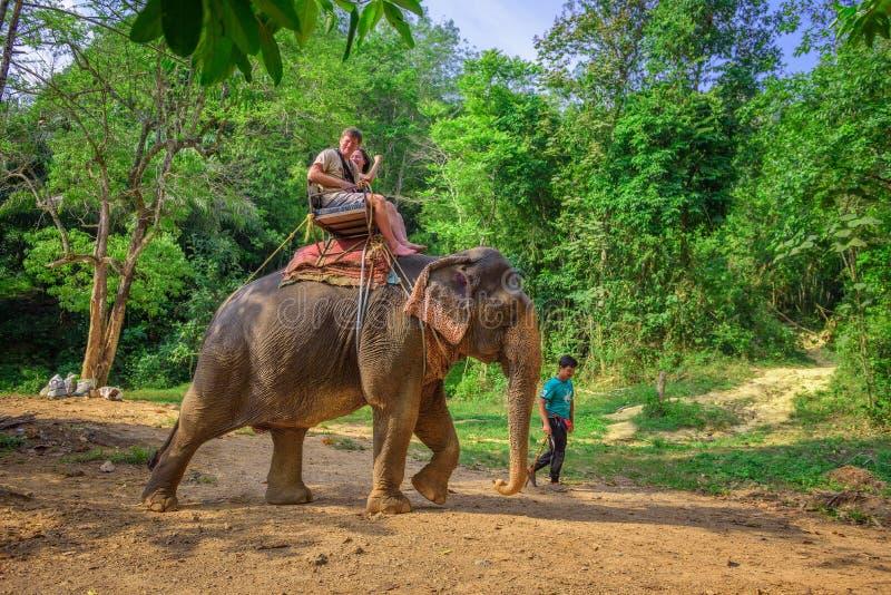 Turyści jedzie słonia w Tajlandia fotografia royalty free