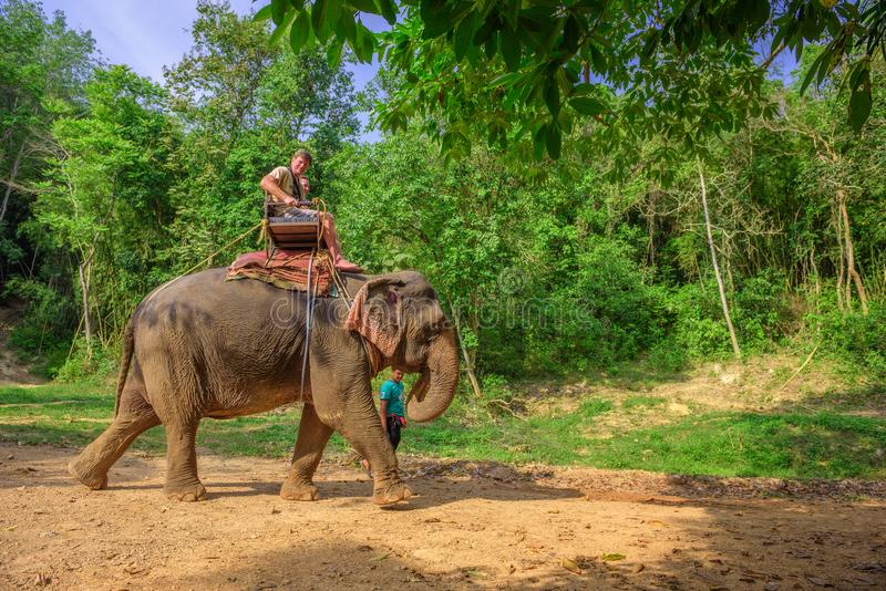 Turyści jedzie słonia w Tajlandia obraz royalty free