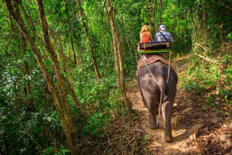 Turyści jedzie słonia w Tajlandia fotografia stock