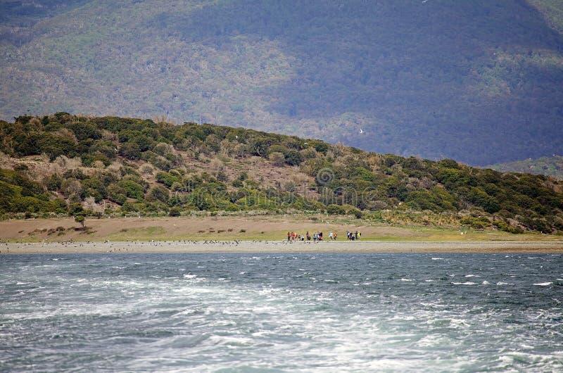 Turyści na plaży w wyspie w Beagle kanale, Argentyna zdjęcia stock