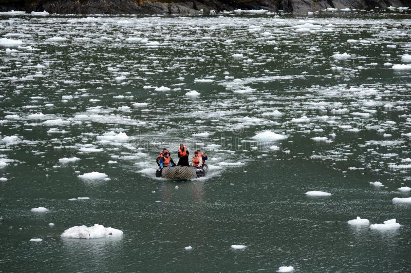 Turyści od statku wycieczkowego w Garibaldi fjord w archipelagu Tierra Del Fuego zdjęcia stock