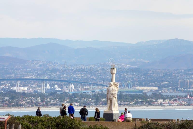 Turyści odwiedzają Cabrillo Krajowego zabytek, San Diego, Kalifornia, usa zdjęcia royalty free