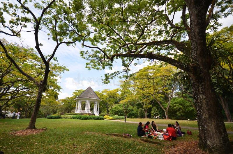 Turyści pinkin w ogródu botanicznego Bandstand w Singapur zdjęcie stock