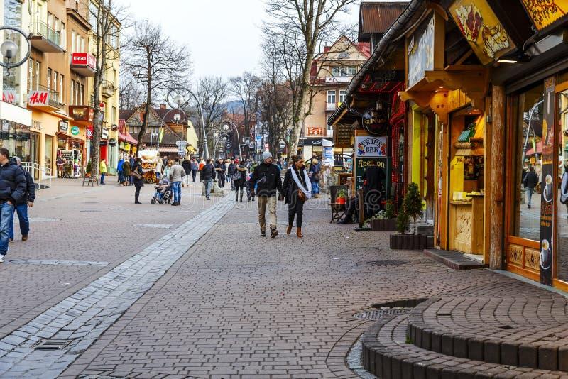 Turyści przy Krupowki fotografia stock