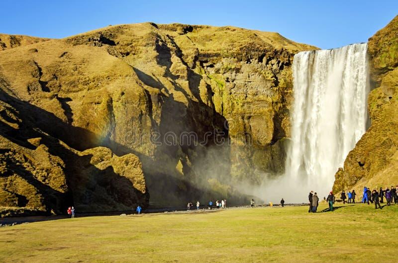 Turyści przy Skogafoss siklawą Iceland fotografia royalty free