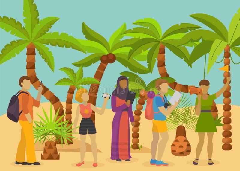 Turyści różne narodowości z telefonami, gps pastylkami i przewodnik wycieczek, opowiadają widoki tropikalna wyspa ilustracji