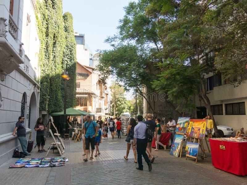 Turyści spacerują przez centrum Santiago de Chile w, zdjęcia royalty free