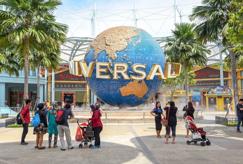 Turyści w universal studio Singapur zdjęcie royalty free