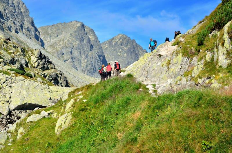 Turyści wspina się na halnych szczyty obraz stock