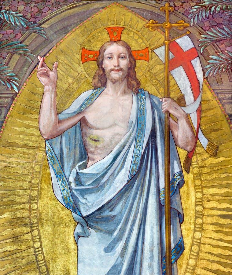 Turyn - fresk rezurekcja władyka w małej kaplicie Capella Pinardi fotografia royalty free