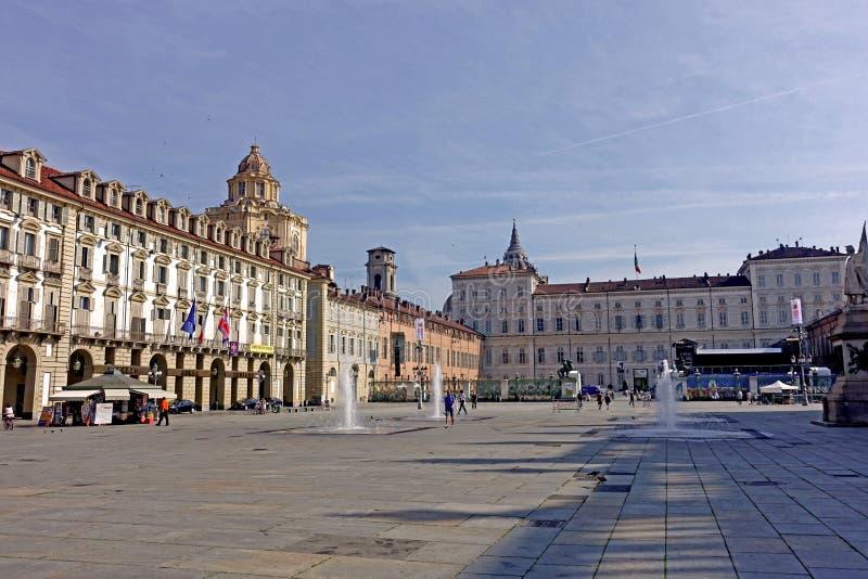 Turyn piazza castello zdjęcie stock