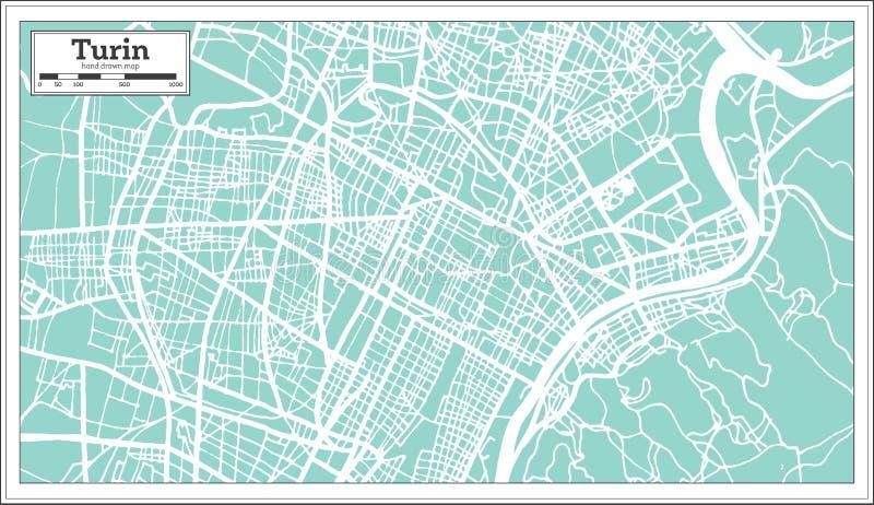 Turyn Włochy miasta mapa w Retro stylu Czarny i biały wektorowa ilustracja ilustracji