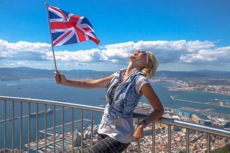 Turysta przy Gibraltar skałą zdjęcie stock