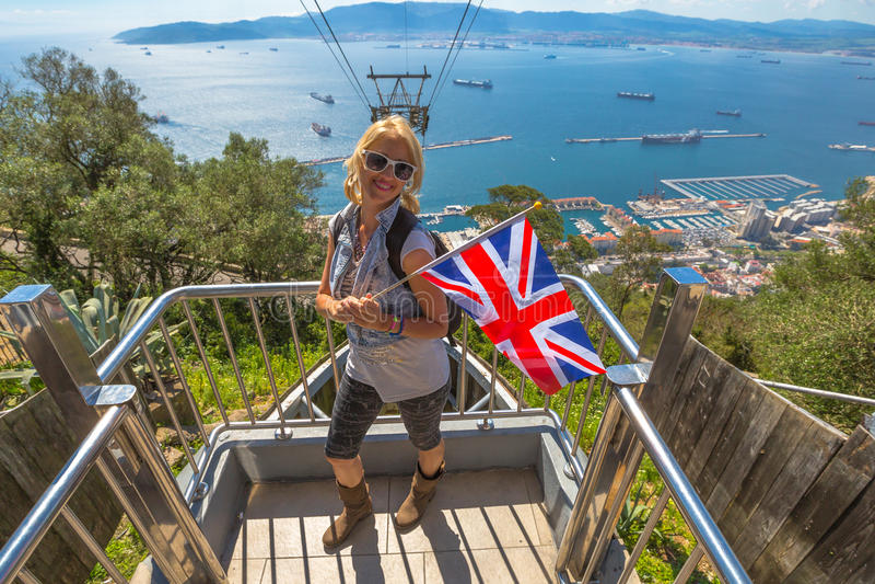 Turysta przy Gibraltar skałą zdjęcia stock