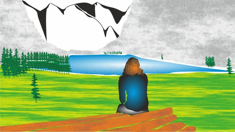 Turysta, Sceniczne Krajobrazowe ikony, logo dla mobilnego pojęcia i sieci apps, ilustracja wektor