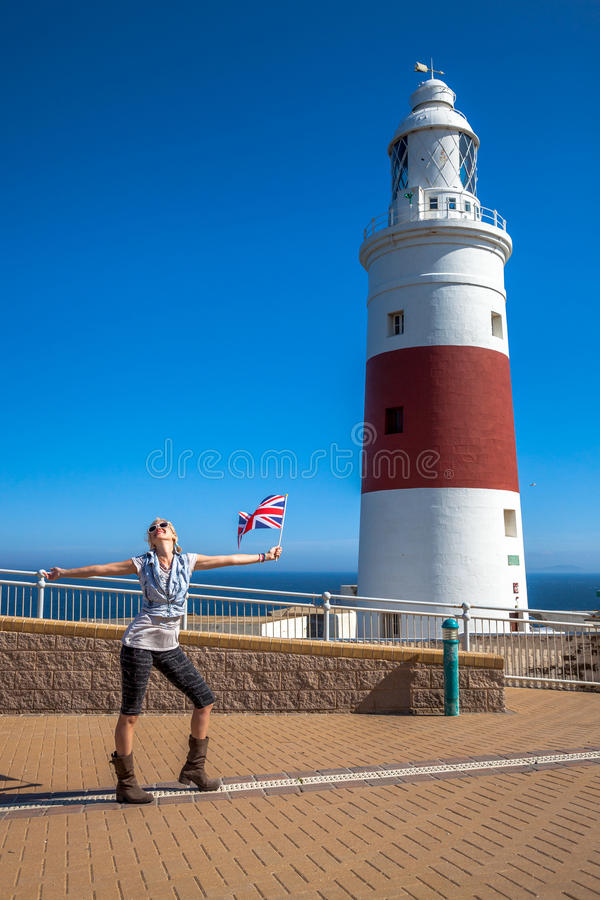 Turysta w Gibraltar latarni morskiej obraz royalty free