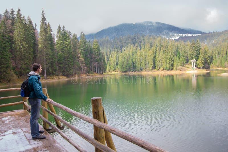 Turysta z plecakiem blisko pięknego jeziora fotografia royalty free