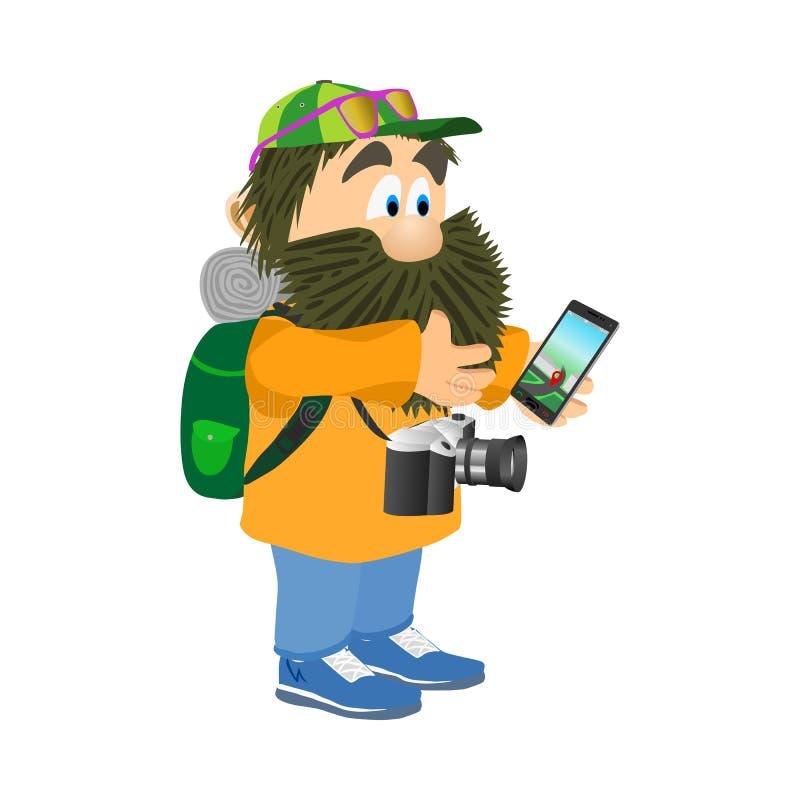 Turysta z plecakiem i telefonem odizolowywającymi na białym plecy royalty ilustracja
