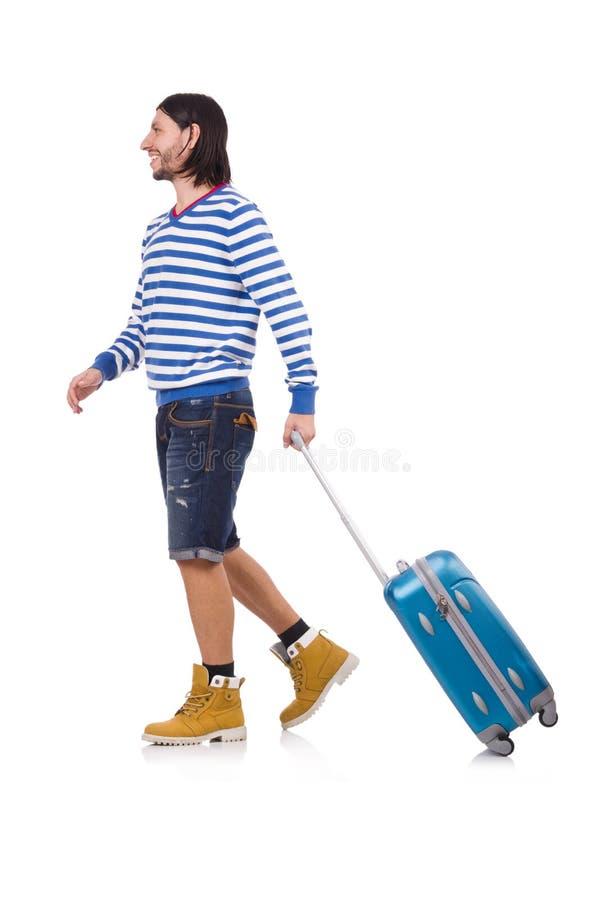 Download Turysta Z Torbami Odizolowywać Na Bielu Obraz Stock - Obraz złożonej z wakacje, plecak: 57652881