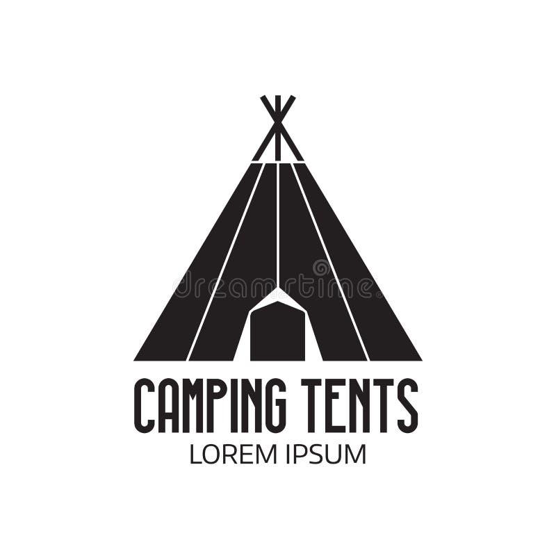 Turysty Obozowy logo lub namiot ikona royalty ilustracja