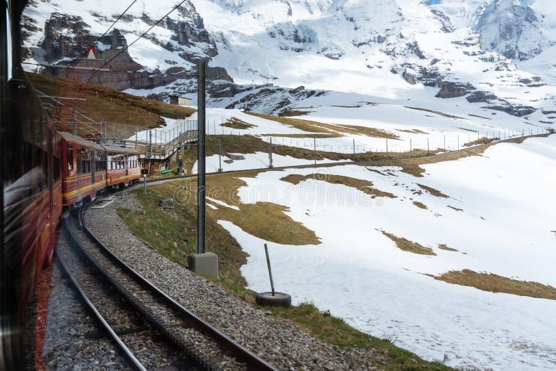 Turysty pociąg Jungfrau wierzchołek Europa góra w pierwszy dniu lato Podróżować w Szwajcaria w lecie obraz royalty free