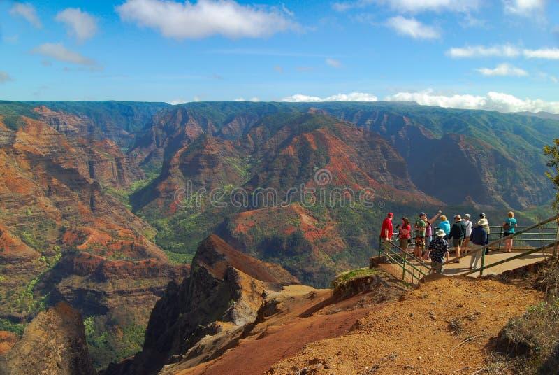 Turysty Waimea jar Kauai Hawaje zdjęcie royalty free