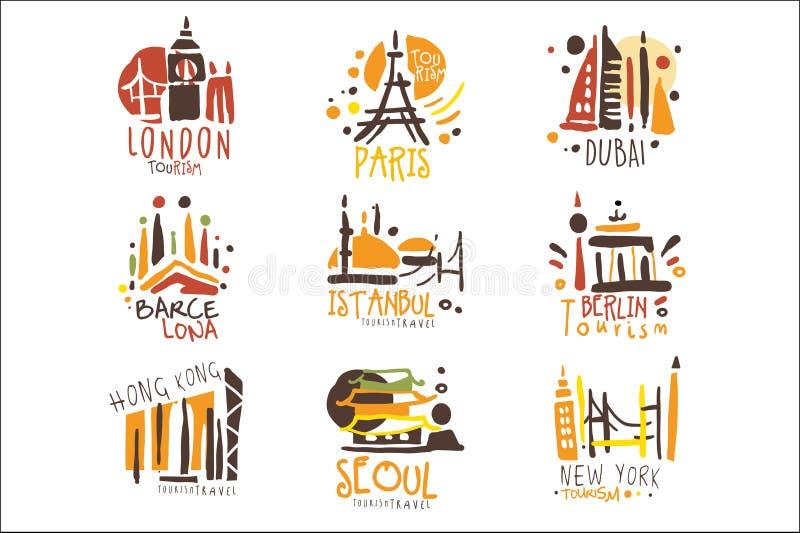 Turystyczna agencja podr??y Ustawiaj?ca Kolorowi Promo znaka projekta szablony Z R??nymi turystyk miastami I Ich architektur? ilustracji