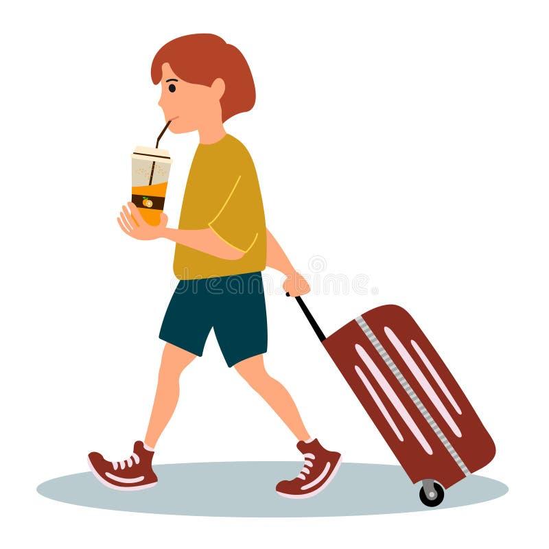 Turystyczna chłopiec z walizką z szkłem sok pomarańczowy i iść lotnisko t?a ilustracyjny rekinu wektoru biel ilustracja wektor