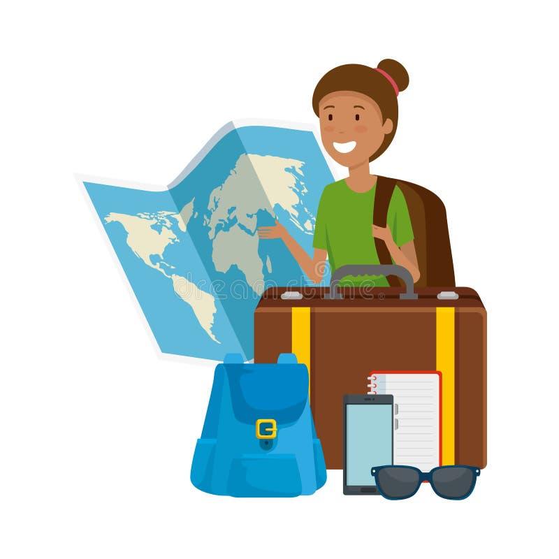 Turystyczna kobieta z papierowymi mapy i podróży ikonami ilustracji