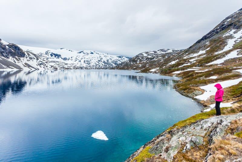 Turystyczna kobiety pozycja Djupvatnet jeziorem, Norwegia fotografia royalty free