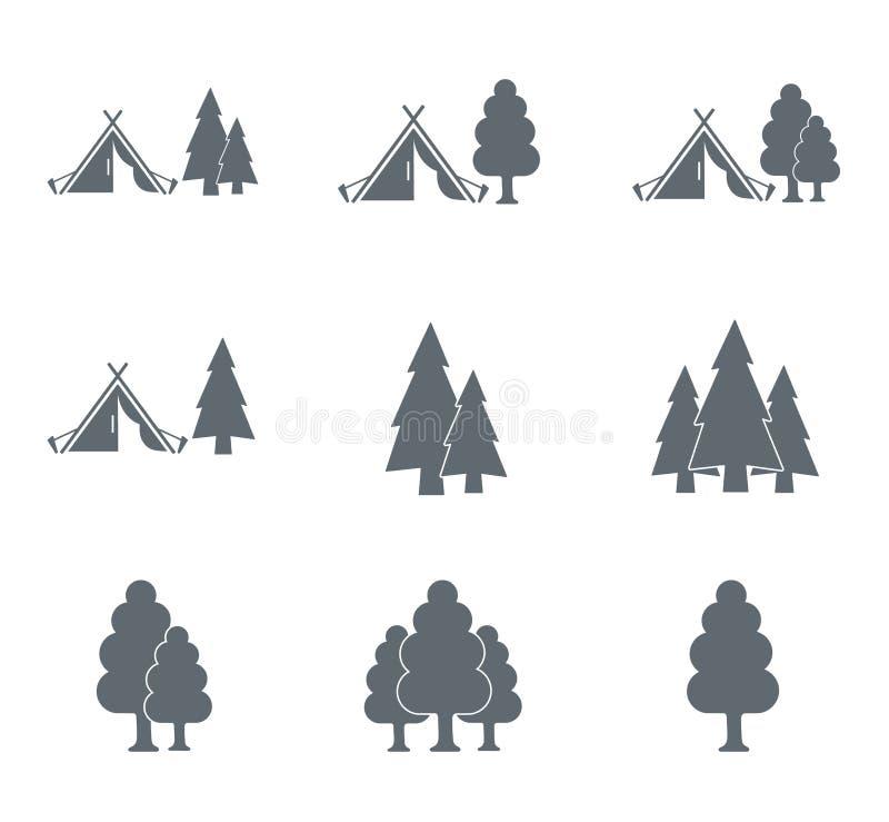 Turystyczna namiotowa ikona i las royalty ilustracja