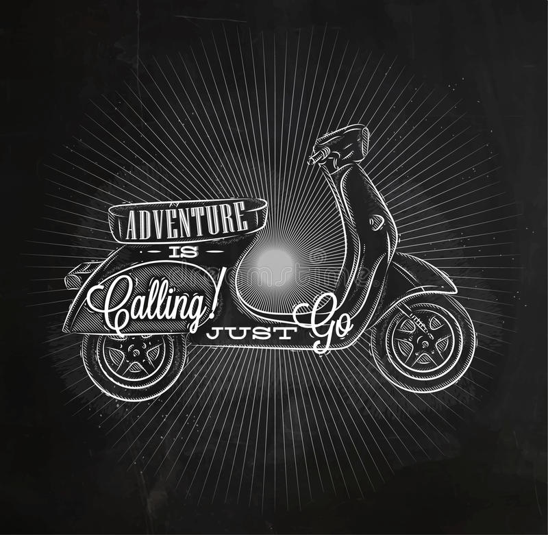Turystyczna plakatowa moped kreda ilustracja wektor
