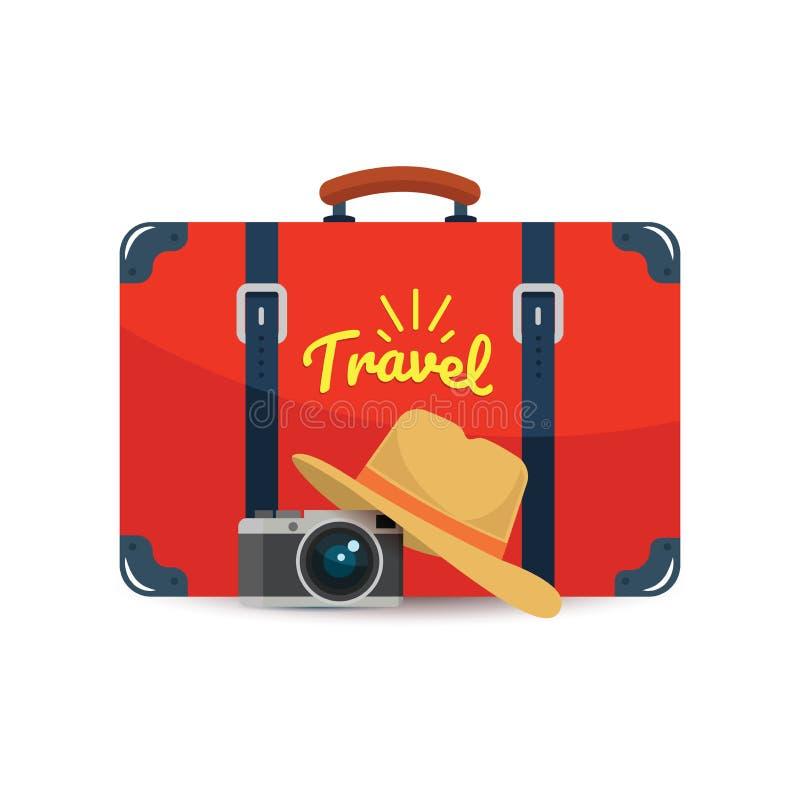 Turystyczna walizka, kamera i kapelusz, Element dla twój podróż projekta również zwrócić corel ilustracji wektora ilustracji