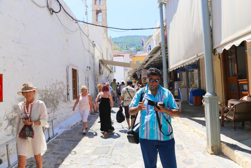 Turystyczny bierze fotografię w Greckim sojuszniku - Grecja zdjęcia stock